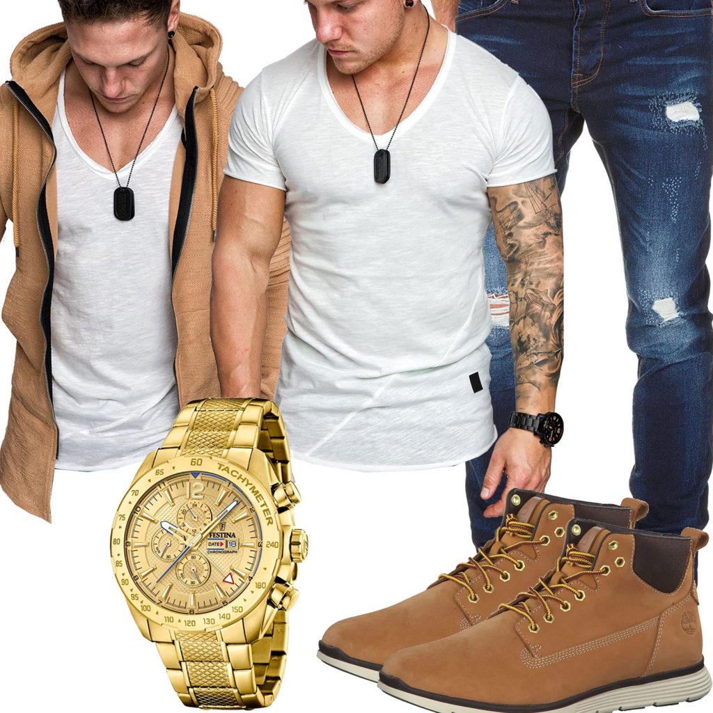 Herren-Style mit goldener Festina Uhr