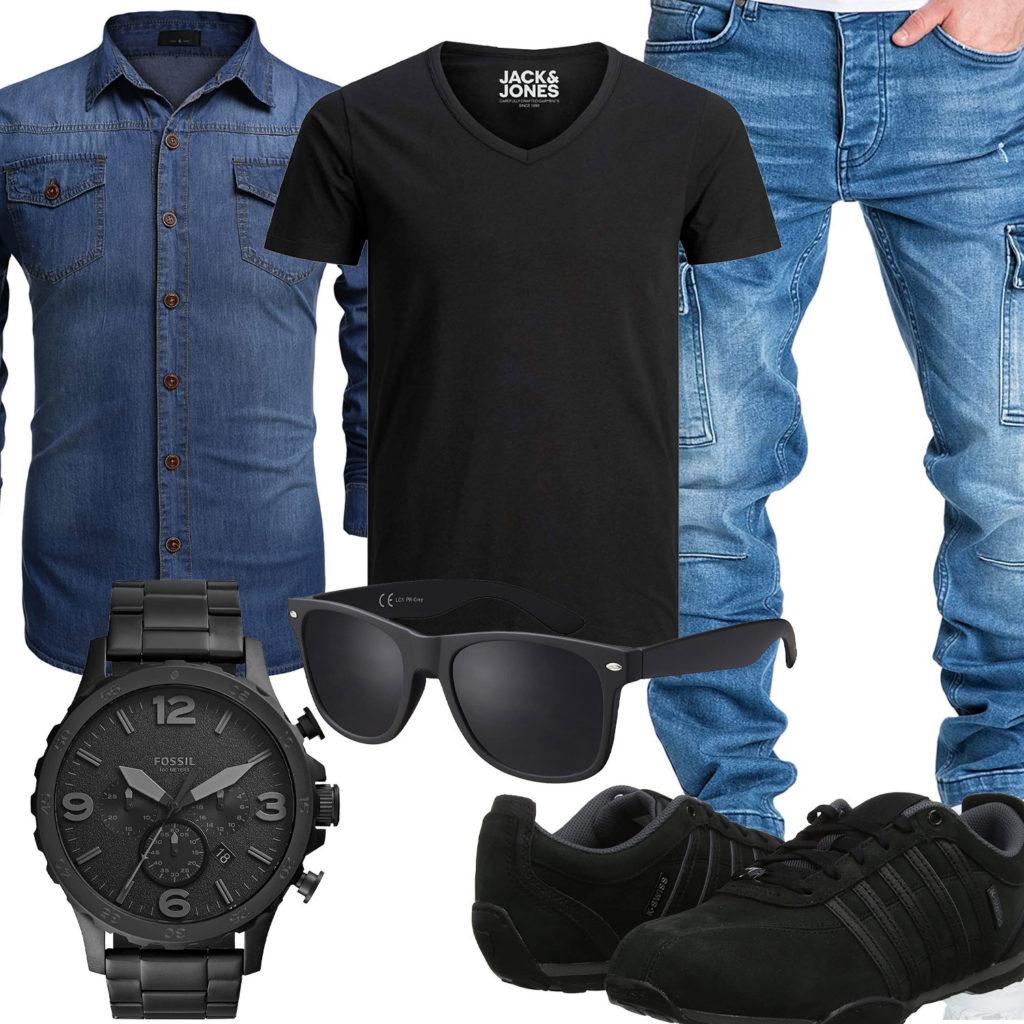 Blau-Schwarzer Style mit Jeanshemd und Jeans