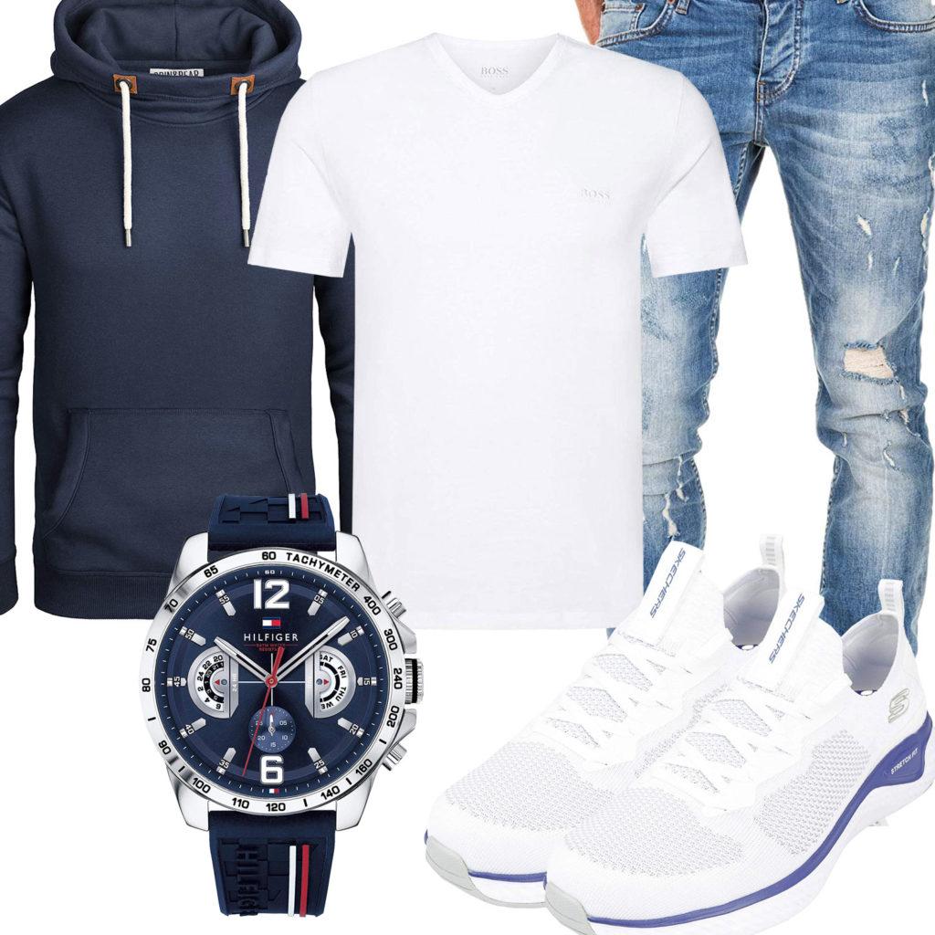 Herren-Style mit weißem Hugo Boss T-Shirt