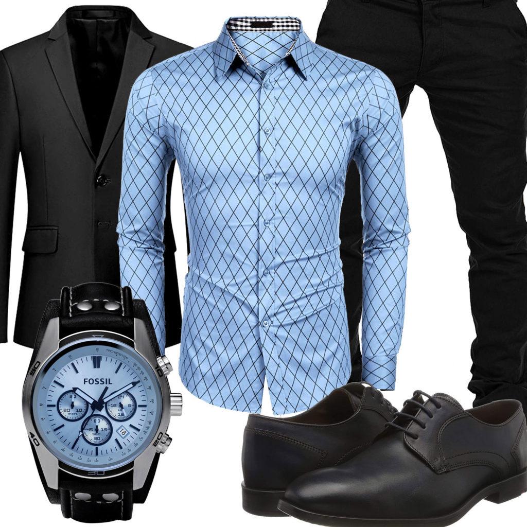 Elegantes Herrenoutfit in Schwarz und Hellblau