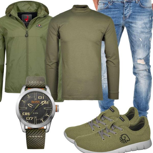 Grünes Herrenoutfit mit Langarmshirt und Uhr