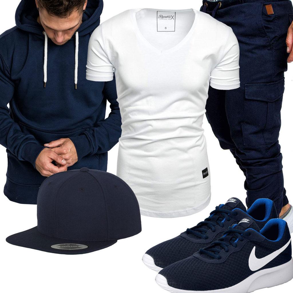 Dunkelblauer Style mit Republix Shirt und Hose