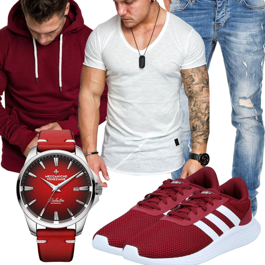 Herrenoutfit mit rotem Hoodie und Adidas Sneakern