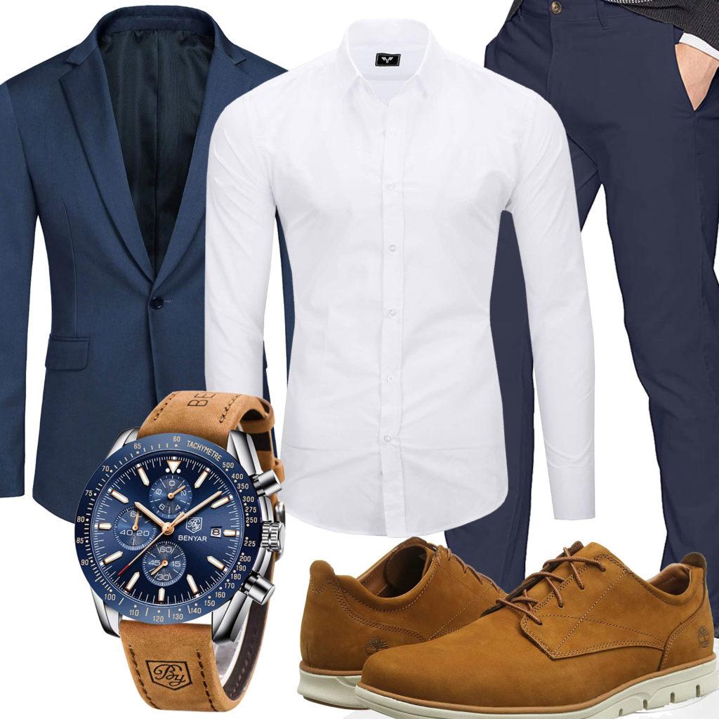 Business-Style mit dunkelblauem Sakko und Hose