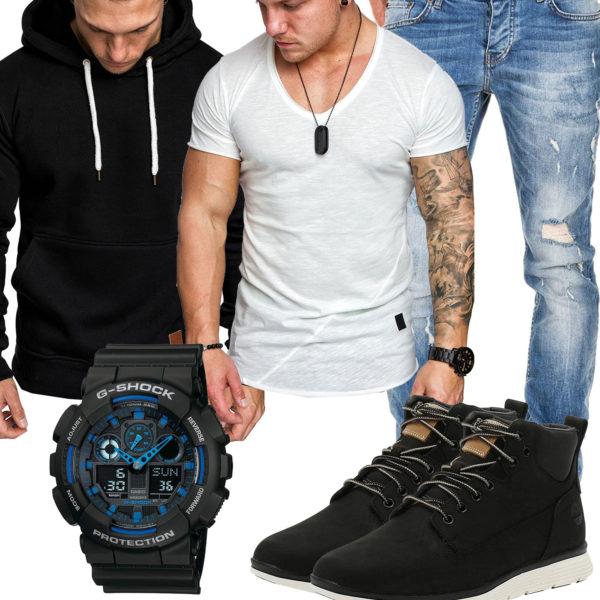 Herren-Style mit Amaci&Sons Shirt und Hoodie