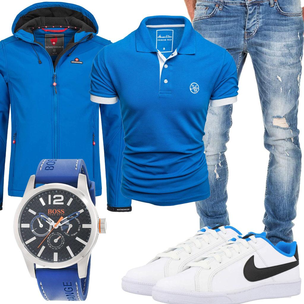Blau-Weißer Style mit Jacke und Poloshirt