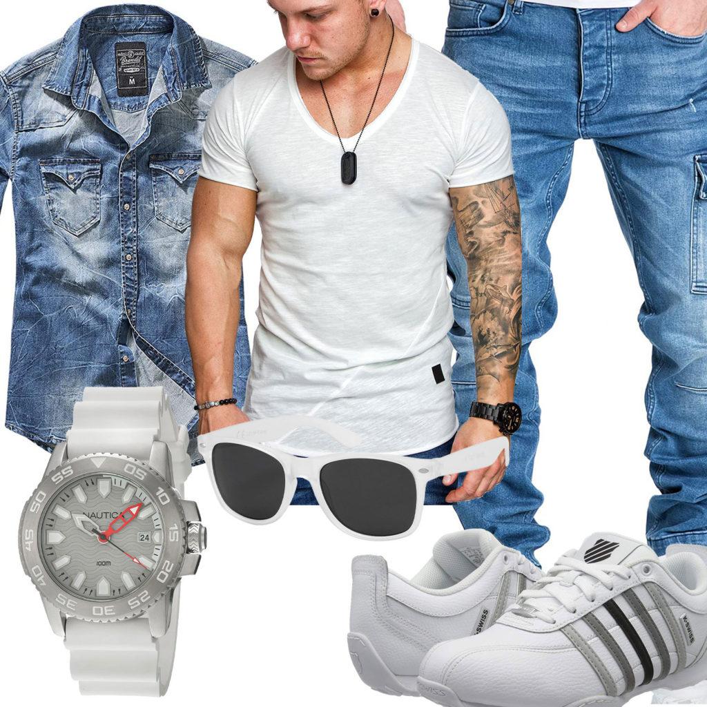 Hellblau-Weißes Herrenoutfit mit Jeanshemd