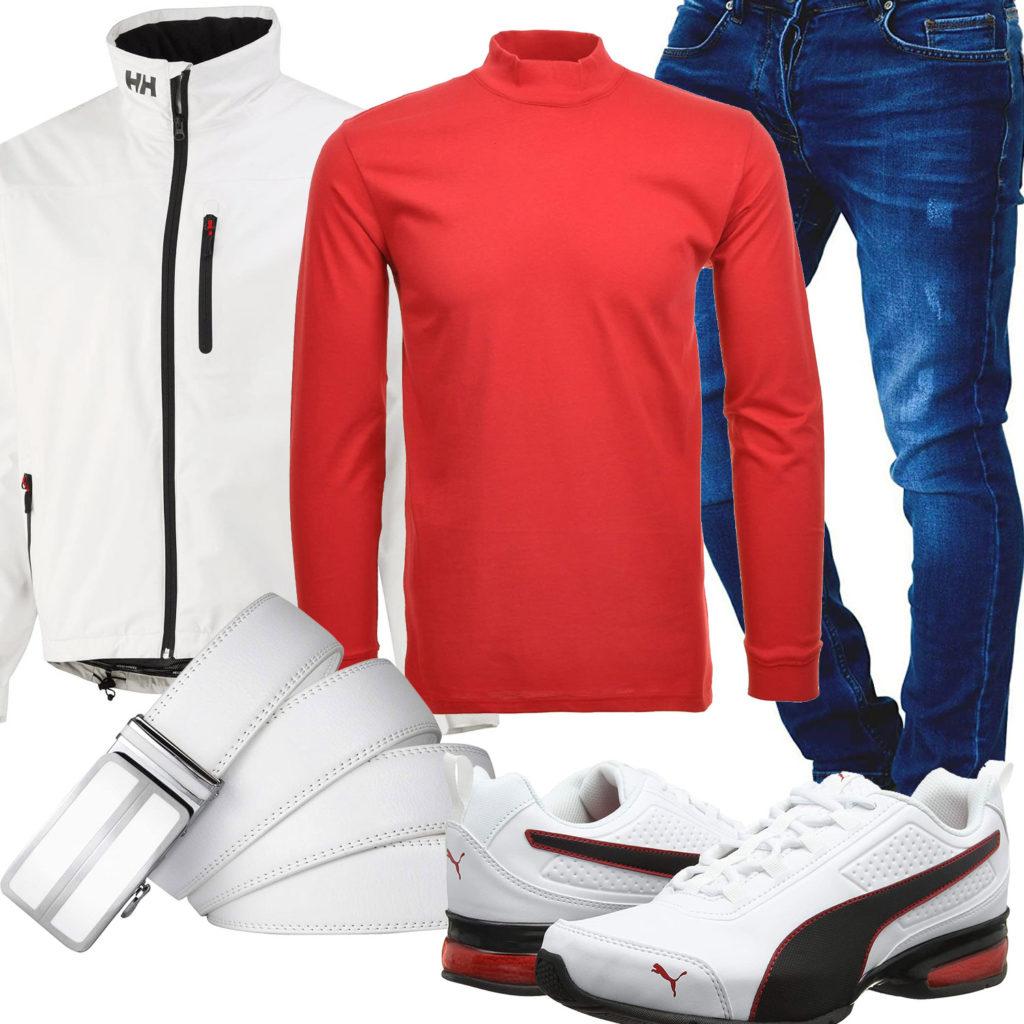 Weiß-Roter Style mit Helly Hansen Jacke
