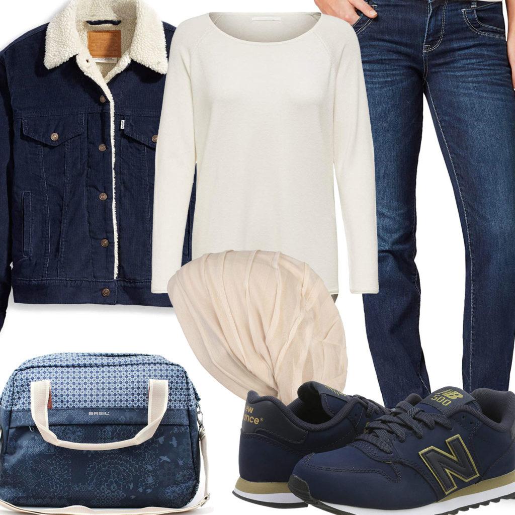 Dunkelblau-Beiges Damenoutfit mit gefütterter Jeansjacke