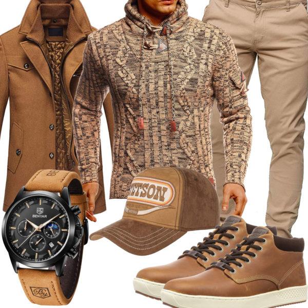 Beiger Style mit Pullover, Mantel und Cap