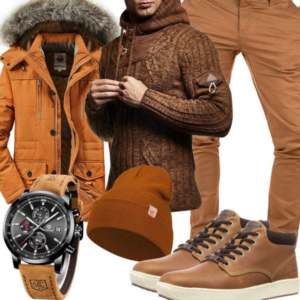 Beige-Braunes Herrenoutfit mit Strickpullover und Jacke