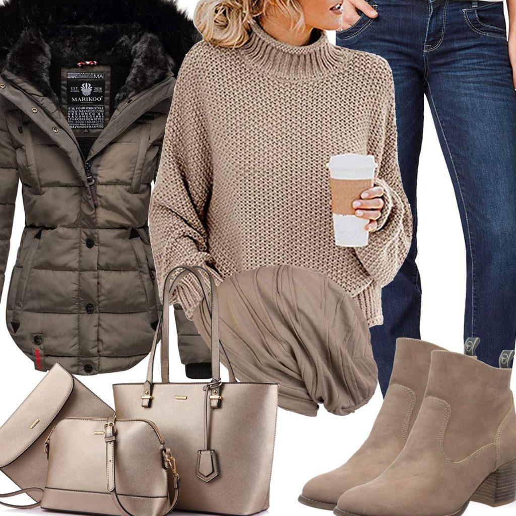Beiges Damenoutfit mit Pullover, Jacke und Mütze