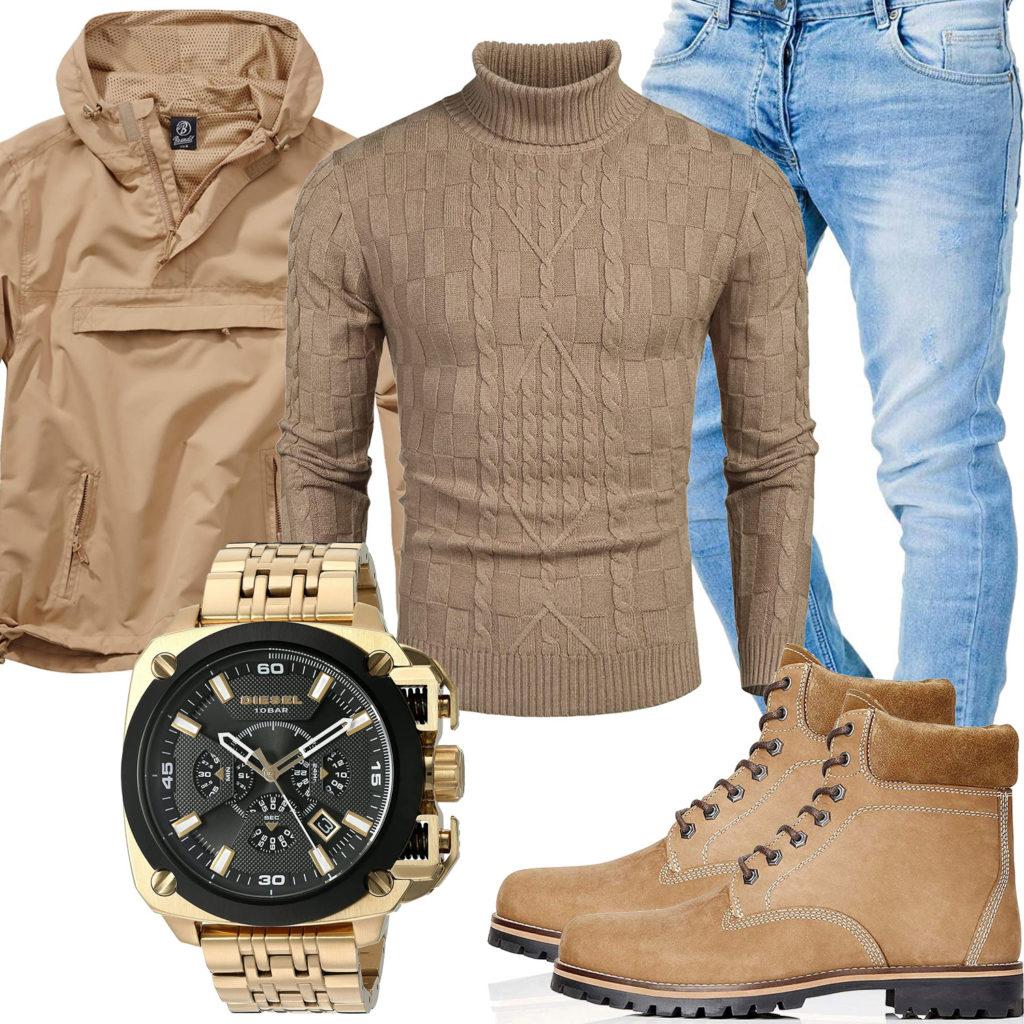 Beiges Herrenoutfit mit Windbreaker, Pullover und Boots
