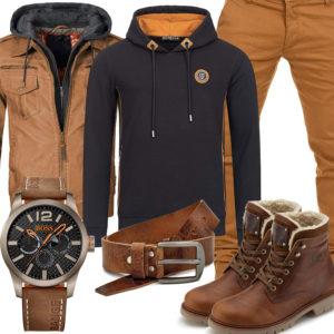 Schwarz-Brauner Herren-Style mit Panama Jack Boots