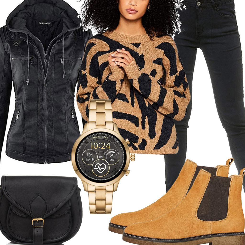 Beige-Schwarzes Damenoutfit mit Lederjacke und Uhr
