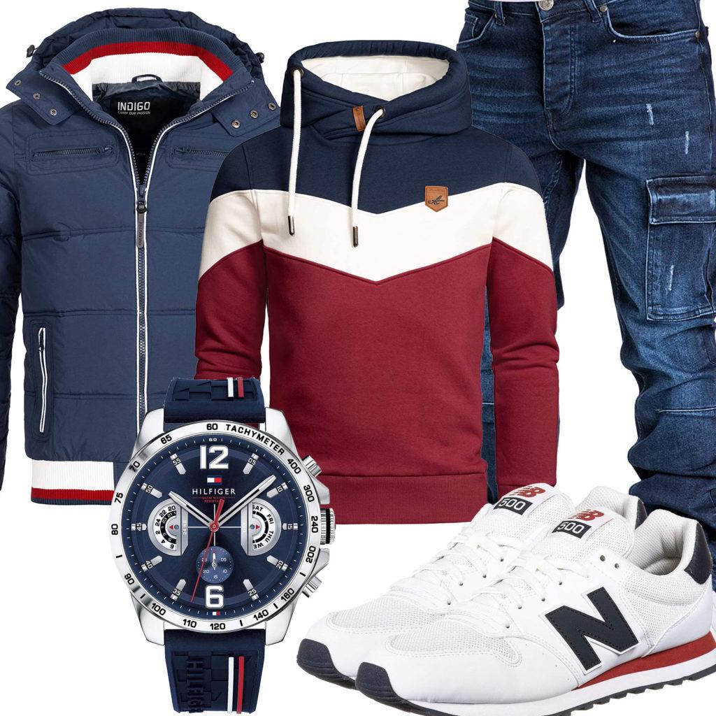 Blau-Rotes Herrenoutfit mit weißen New Balance Sneakern