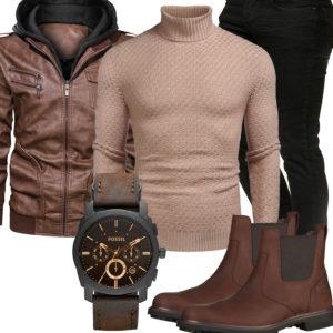Herrenoutfit mit brauner Lederjacke, Uhr und Schuhen