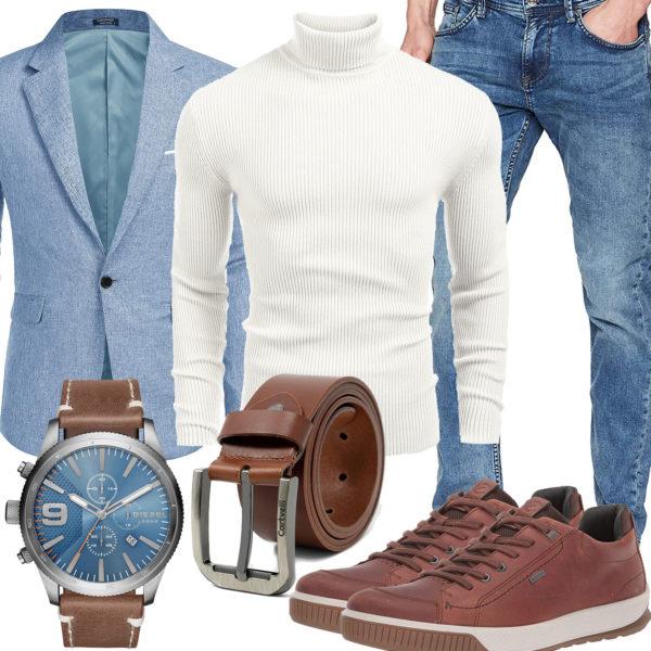 Herren-Style mit weißem Pullover, Sakko und Jeans