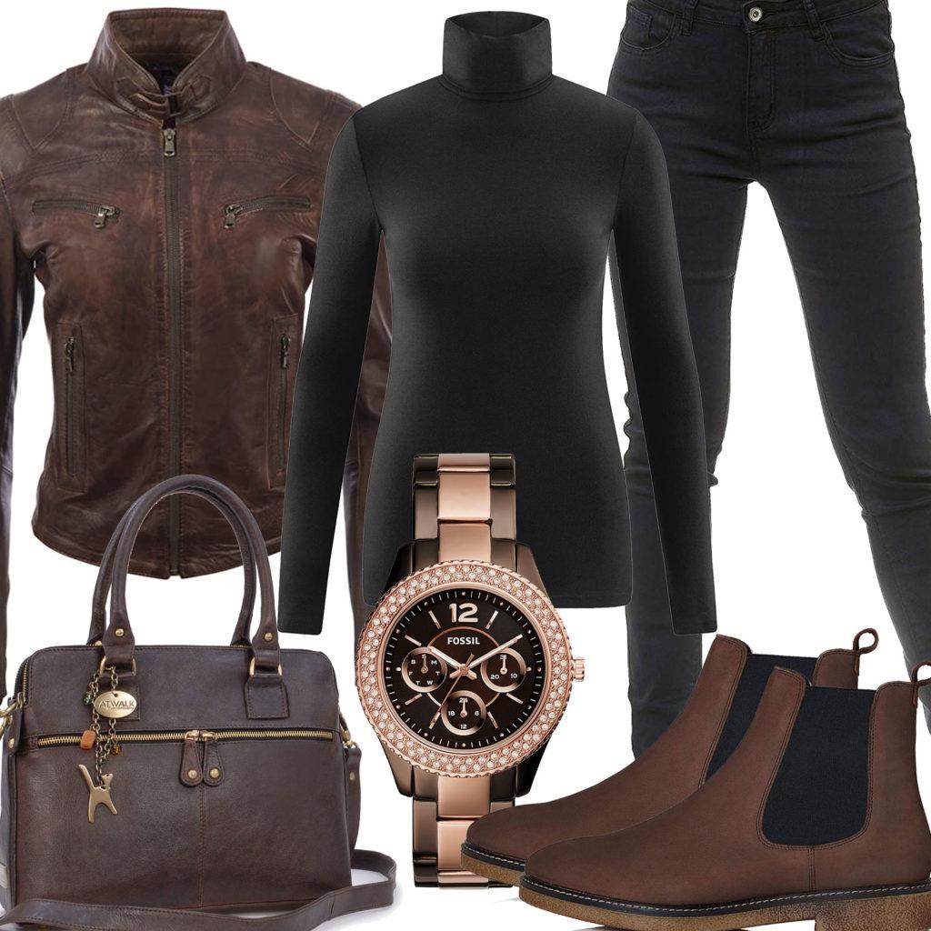 Braun-Schwarzes Damenoutfit mit Lederjacke und Tasche
