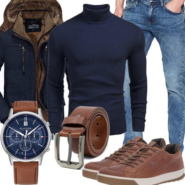 Herbst-Herrenoutfit mit blauem Pullover und Jacke