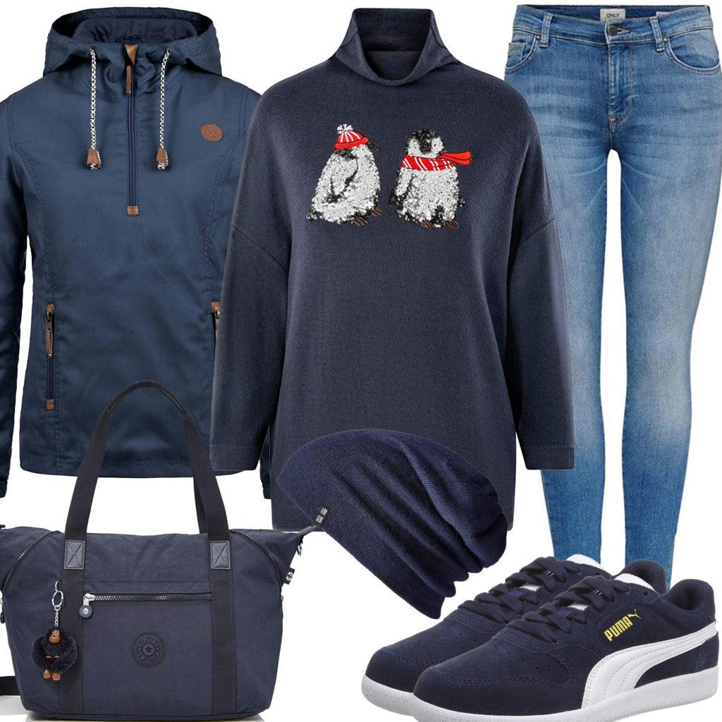 Dunkelblaues Damenoutfit mit Jacke, Pullover und Sneakern