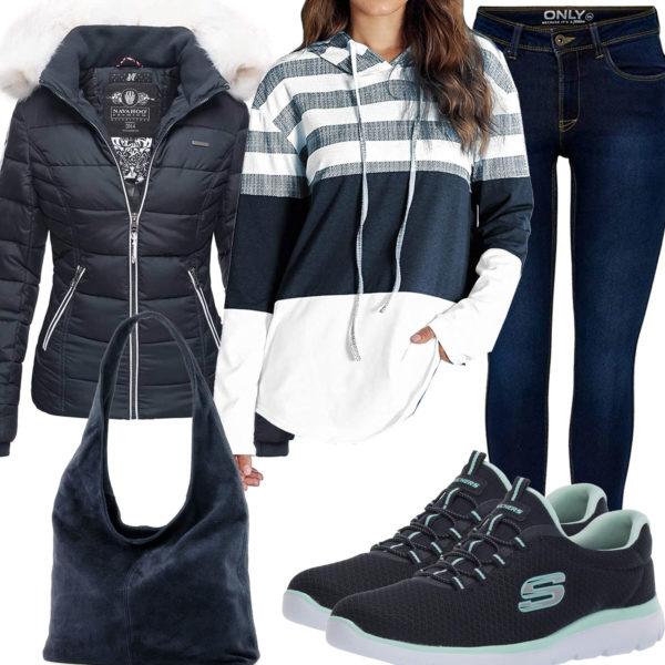 Dunkelblaues Frauenoutfit mit Hoodie, Steppjacke und Jeans