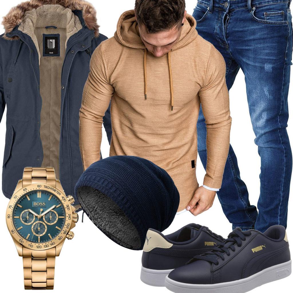Beige-Blauer Style mit Hoodie und BW-Parka