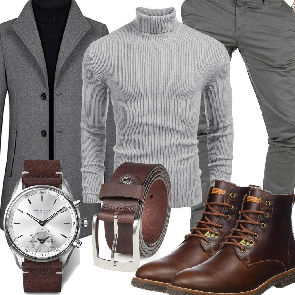 Grau-Braunes Herrenoutfit mit Mantel, Pullover und Stiefeln