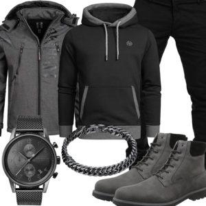 Grau-Schwarzes Herrenoutfit mit Hoodie, Jacke und Stiefeln