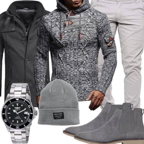 Graues Herrenoutfit mit Mantel, Pullover und Mütze