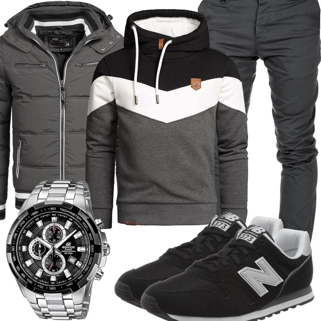 Grau-Schwarzes Herrenoutfit mit Hoodie und Steppjacke