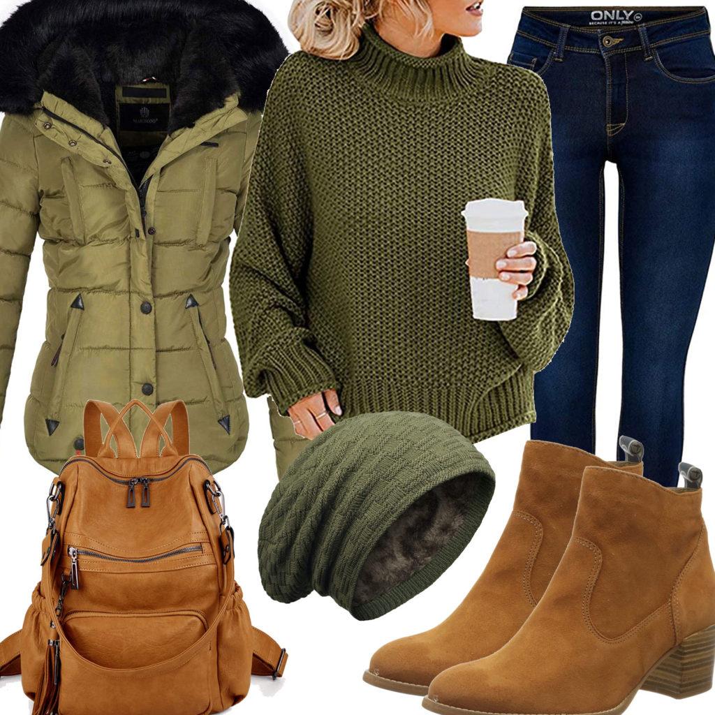 Grünes Damenoutfit mit hellbrauner Rucksack und Schuhen