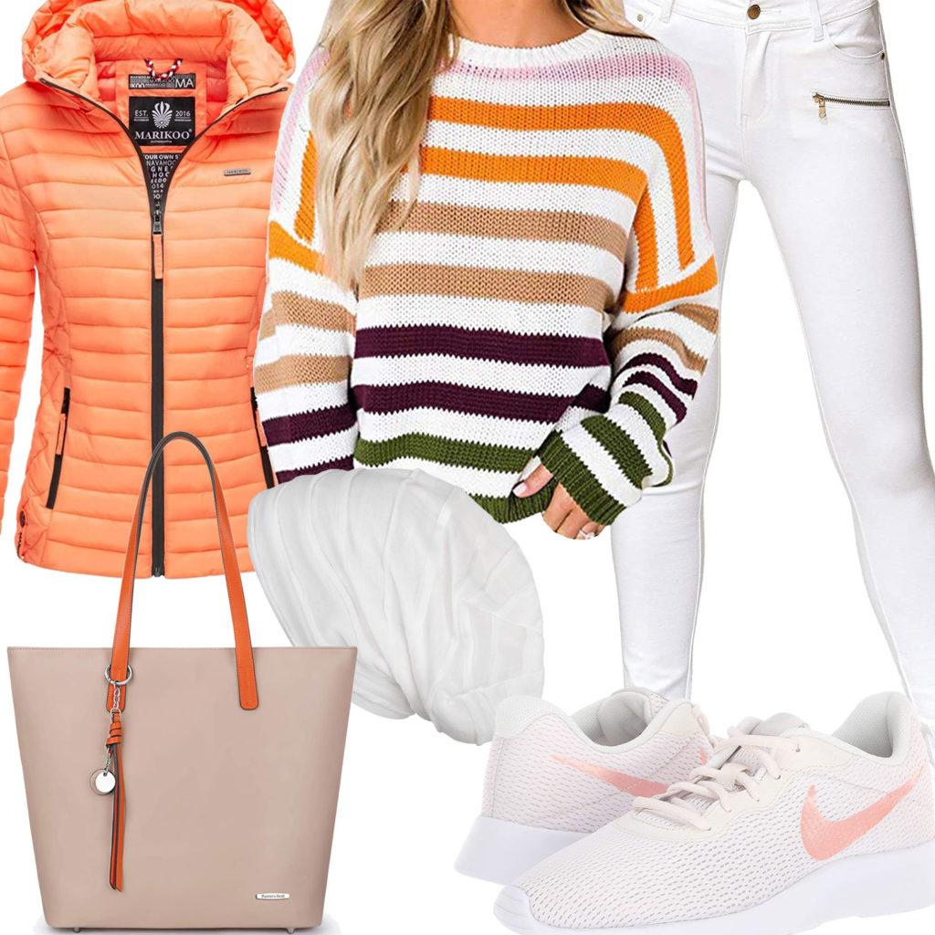 Weiß-Oranges Damenoutfit mit Pullover und Steppjacke