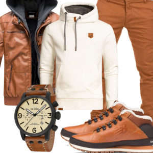 Hellbraunes Herrenoutfit mit Lederjacke und New Balance Boots