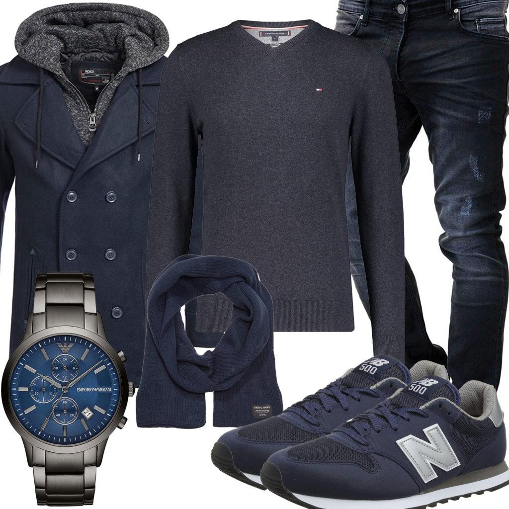 Blau-Graues Herrenoutfit mit Parka, Pullover und Uhr