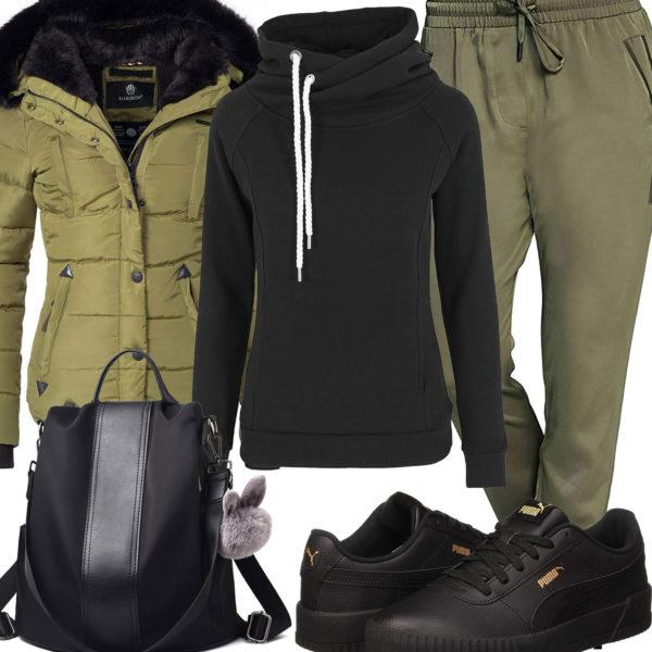 Grün-Schwarzes Damenoutfit mit Jacke und Kapuzenpullover
