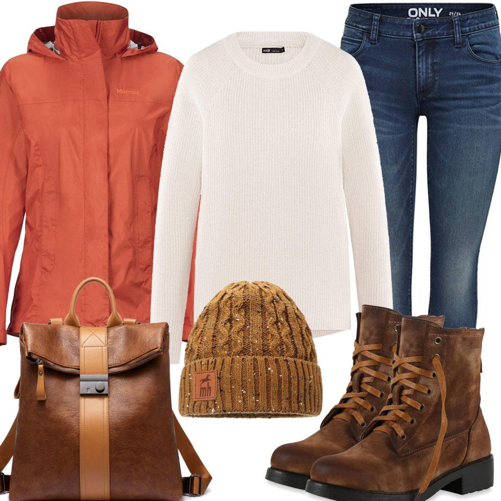 Warmes Herbst-Frauenoutfit mit braunem Rucksack und Boots