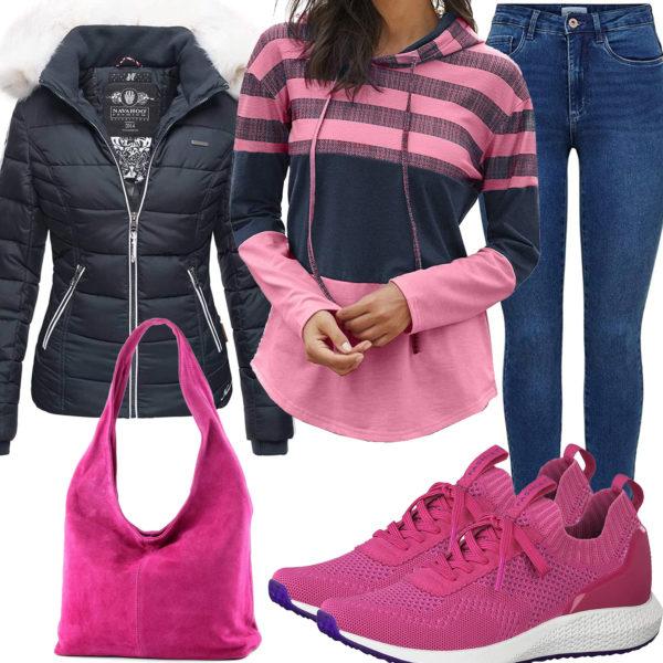 Rosa-Blau Damenoutfit mit Hoodie und Steppjacke