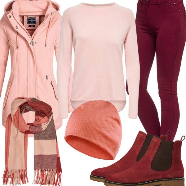 Rosa-Rotes Damenoutfit mit Schal, Mütze und Jacke