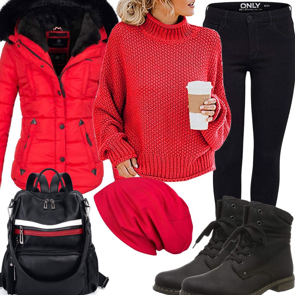 Schwarz-Rotes Damenoutfit mit Winterjacke, Mütze und Rucksack