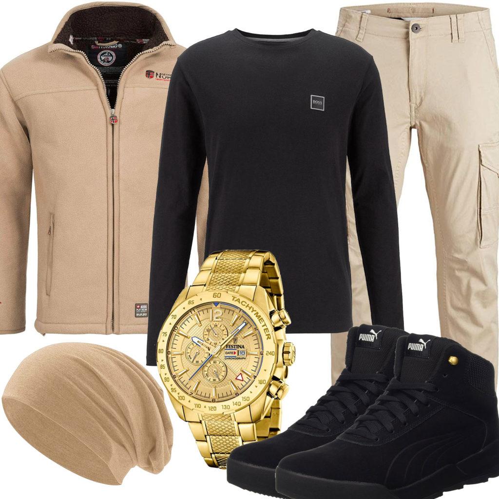 Beige-Schwarzes Herrenoutfit mit goldener Festina Uhr