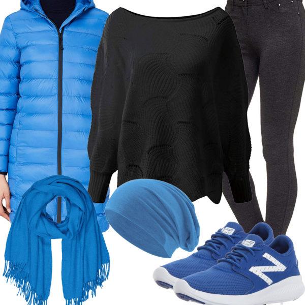 Schwarz-Blaues Frauenoutfit mit Steppmantel und Schal