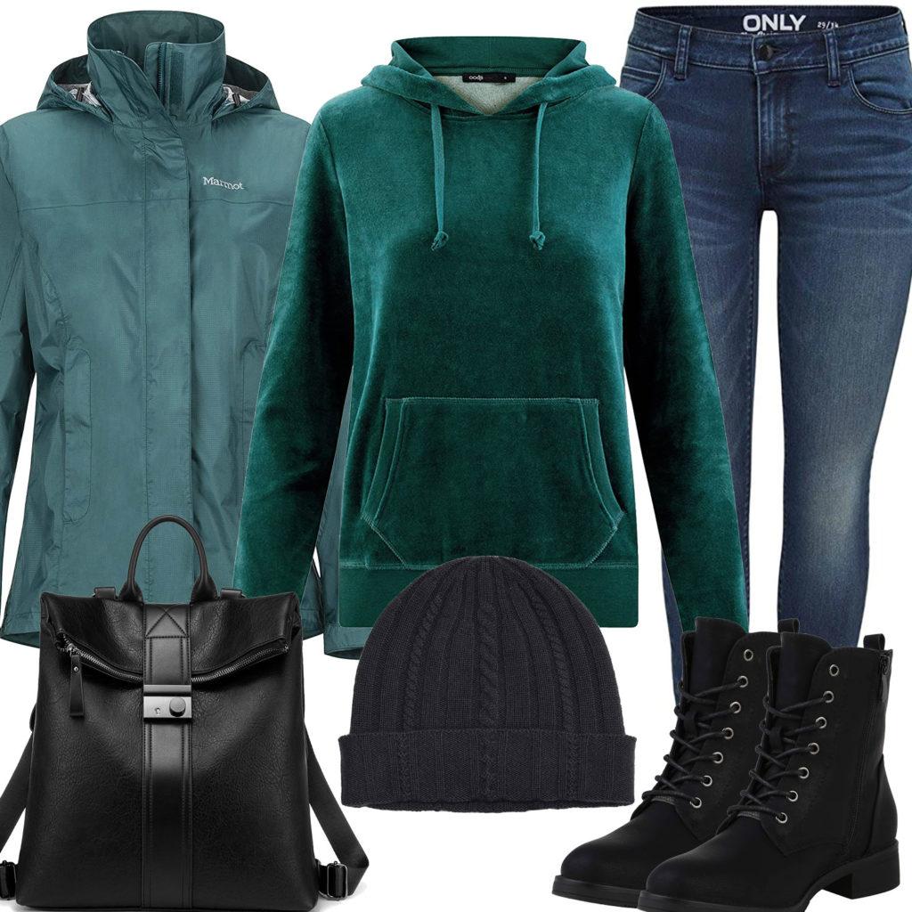 Grün-Schwarzes Damenoutfit mit Jacke und Hoodie