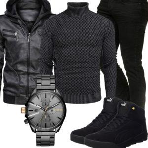 Schwarzes Herrenoutfit mit Lederjacke und Pullover