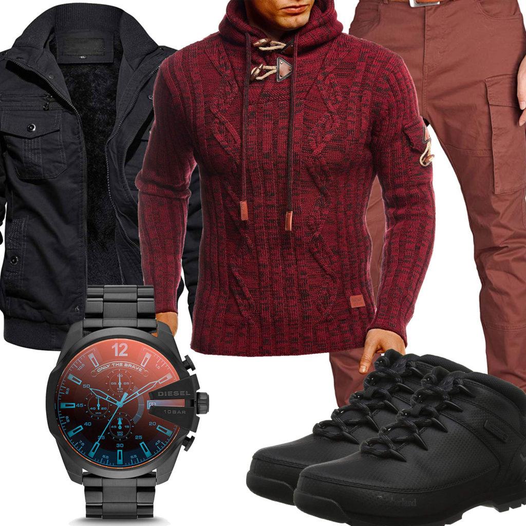 Schwarz-Rotes Herrenoutfit mit Pullover und Jacke