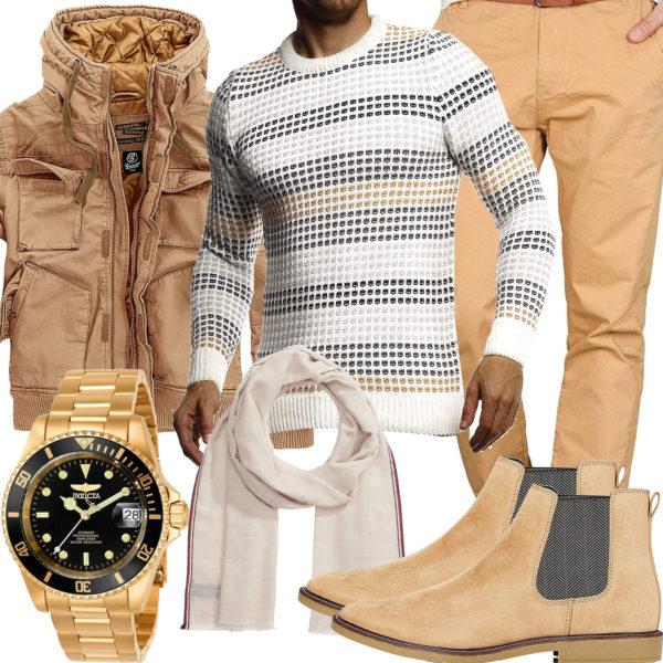 Beige-Weißes Herrenoutfit mit Pullover, Jacke und Chino
