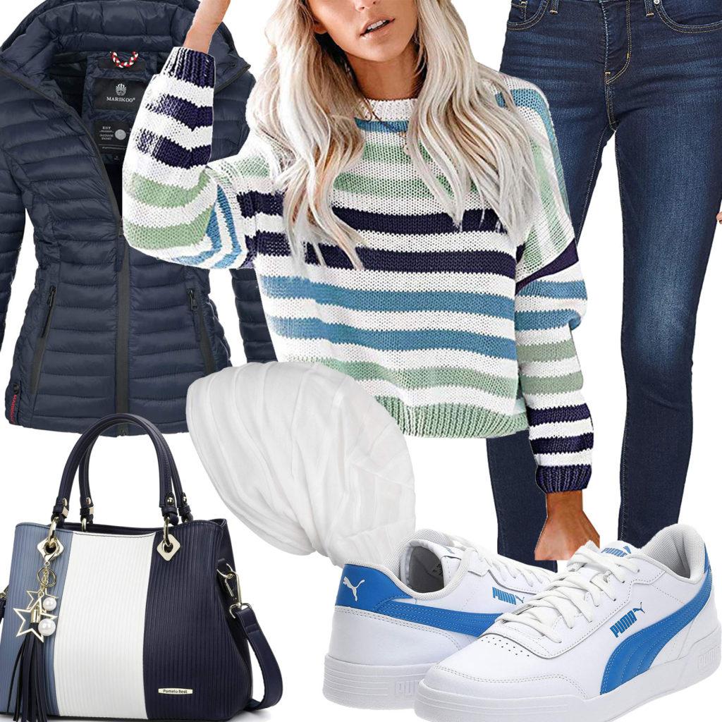 Weiß-Blaues Damenoutfit mit gestreiftem Pullover