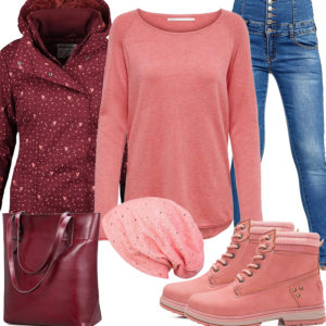 Herbst-Damenoutfit in Weinrot und Apricot