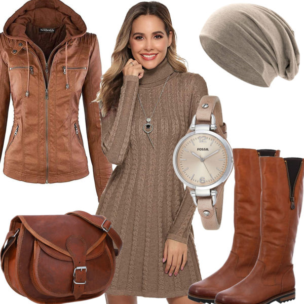 Herbst-Frauenoutfit mit beigem Strickkleid und Mütze