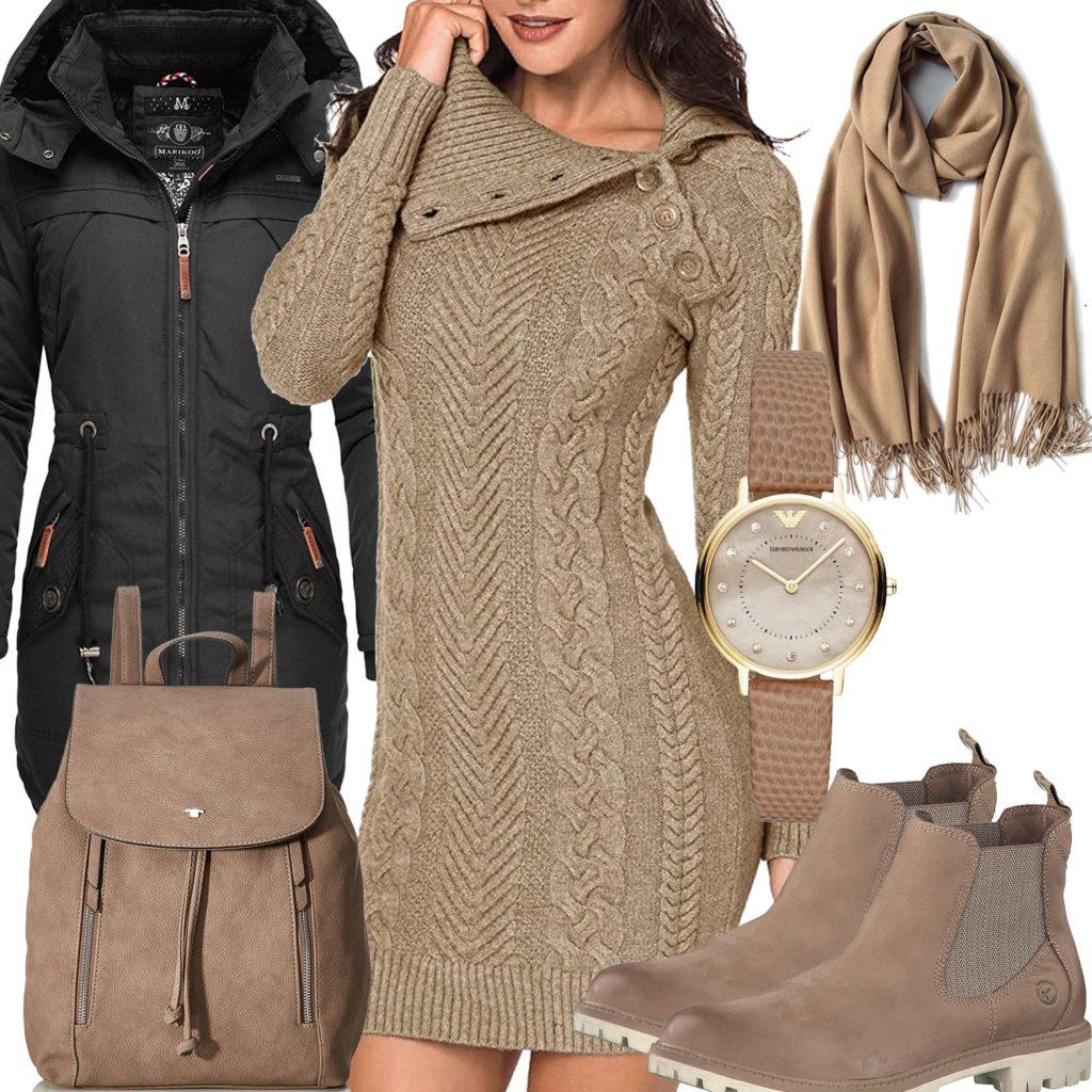 Beiges Frauenoutfit mit Strickkleid, Schal und Rucksack